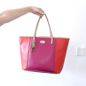 COACH Leather Pink Red Color Block Tote Bag L
